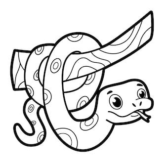 Libro da colorare o pagina per bambini. serpente bianco e nero