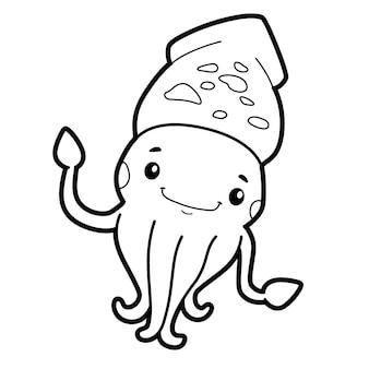 Libro da colorare o pagina per bambini. calamaro bianco e nero
