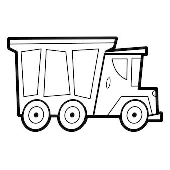 Libro da colorare o pagina per bambini. camion in bianco e nero