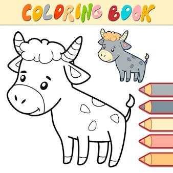 Libro da colorare o pagina per bambini. illustrazione in bianco e nero del toro