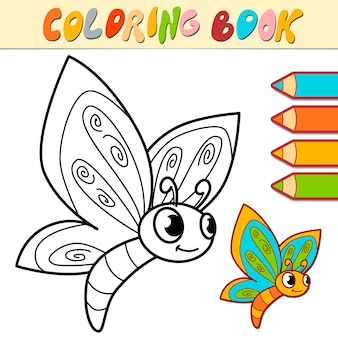 Libro da colorare o pagina per bambini. farfalla in bianco e nero illustrazione