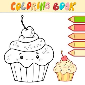 Libro da colorare o pagina per bambini. torta in bianco e nero illustrazione