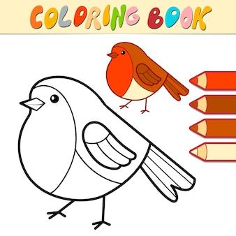 Libro da colorare o pagina per bambini. illustrazione vettoriale di natale uccello bianco e nero