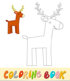 Libro da colorare o pagina per bambini. illustrazione vettoriale di cervo in bianco e nero