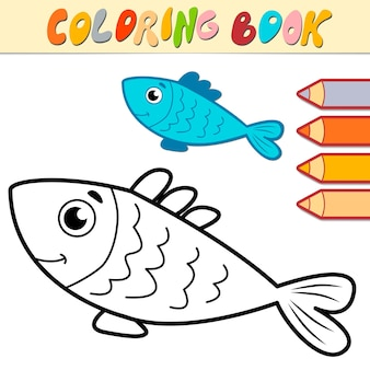 Libro da colorare o pagina per bambini. illustrazione di pesce bianco e nero