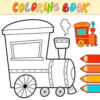 Libro da colorare o pagina per bambini. locomotiva in bianco e nero illustrazione