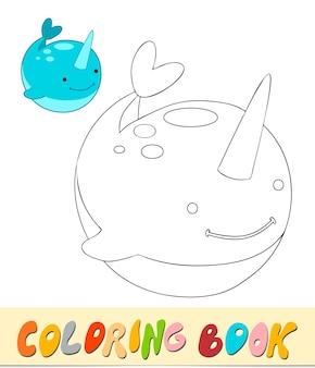 Libro da colorare o pagina per bambini. illustrazione vettoriale di narvalo in bianco e nero
