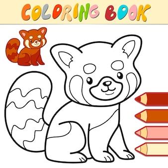 Libro da colorare o pagina per bambini. panda rosso in bianco e nero illustrazione