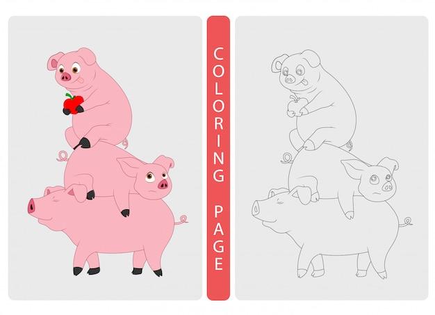 Pagine di libri da colorare per bambini. cartone animato di maiali