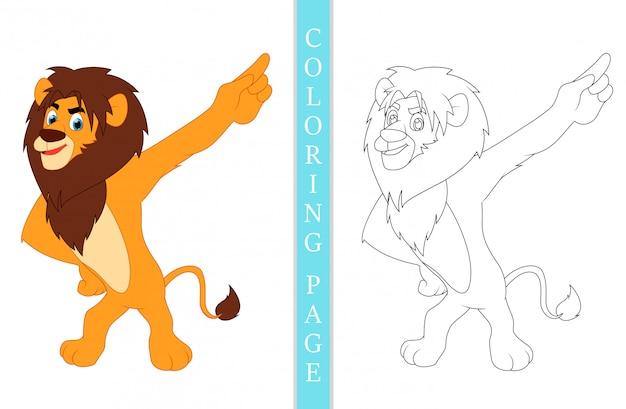 Pagine del libro da colorare leone cartoon