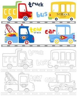 Vettore del libro da colorare con cartoni animati di veicoli