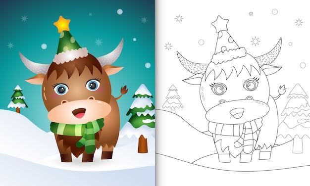 Libro da colorare con una collezione di personaggi natalizi di bufalo cervo con un cappello e una sciarpa