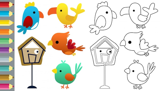 Libro da colorare con set di cartoni animati di uccelli divertenti