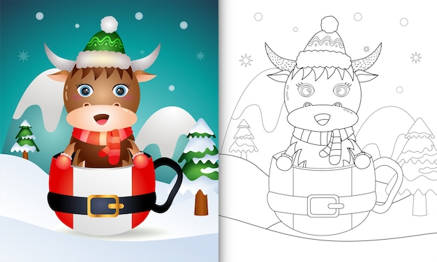 Libro da colorare con simpatici personaggi natalizi di bufalo