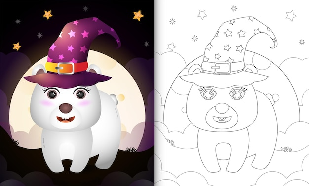 Libro da colorare con un simpatico cartone animato halloween strega orso polare davanti alla luna