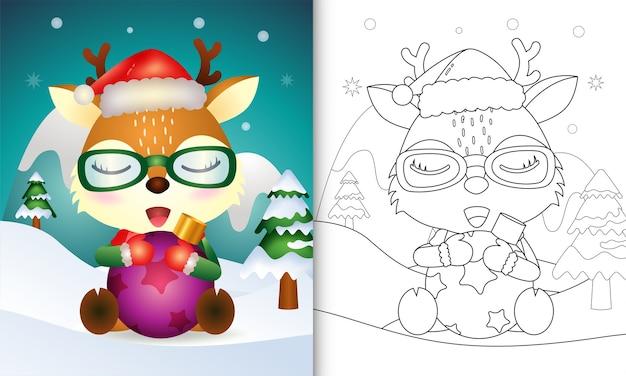 Libro da colorare con un simpatico cervo abbraccio palla di natale