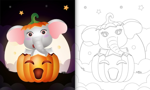 Libro da colorare con un simpatico elefante nella zucca di halloween