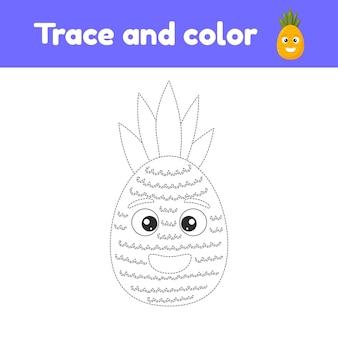 Libro da colorare con frutta carina un ananas. per bambini all'asilo, all'asilo e in età scolare. traccia foglio di lavoro. sviluppo delle capacità motorie e della scrittura a mano.