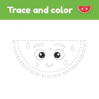 Libro da colorare con frutta carina un'anguria. per bambini all'asilo, all'asilo e in età scolare. traccia foglio di lavoro. sviluppo delle capacità motorie e della scrittura a mano.