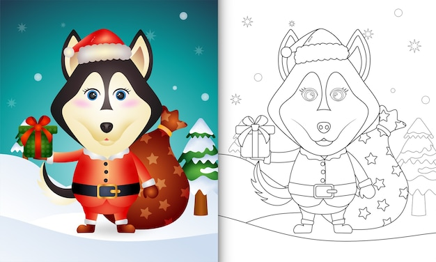 Libro da colorare con un simpatico cane husky con costume da babbo natale