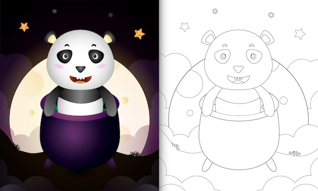 Libro da colorare con un simpatico panda nel calderone delle streghe