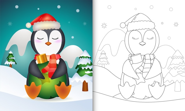 Libro da colorare con un simpatico pinguino abbraccio palla di natale