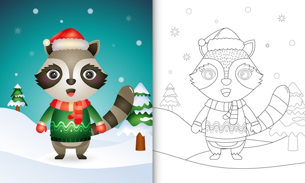 Libro da colorare con un simpatico personaggio natalizio procione con un cappello da babbo natale, una giacca e una sciarpa
