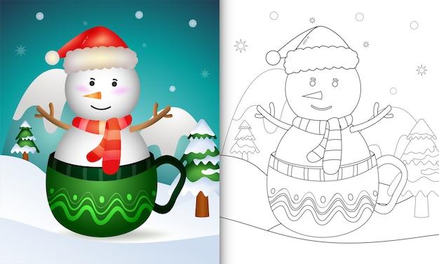 Libro da colorare con un simpatico pupazzo di neve personaggi natalizi con un cappello da babbo natale e una sciarpa nella tazza