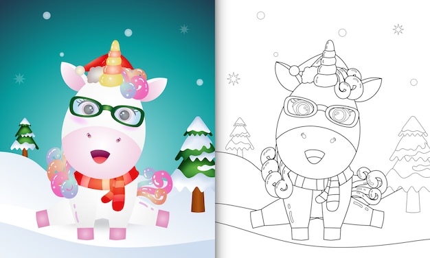 Libro da colorare con un simpatico unicorno personaggi natalizi con l'utilizzo di cappello e sciarpa di babbo natale