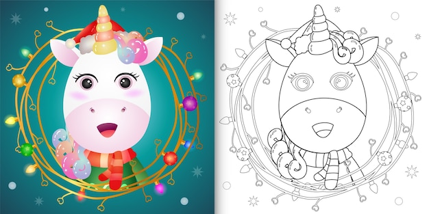 Libro da colorare con un grazioso unicorno con ramoscelli decorazione natalizia