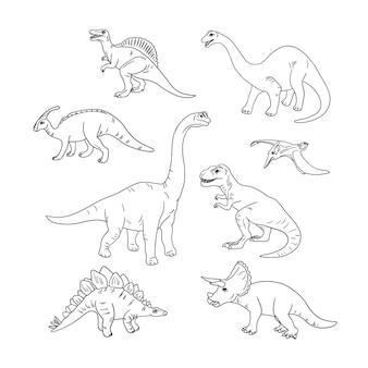 Libro da colorare con illustrazione di dinosauri schizzo disegnato a mano