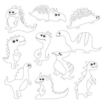 Libro da colorare con dinosauri - illustrazione vettoriale per bambini