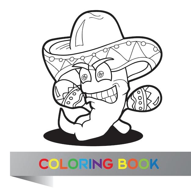 Libro da colorare con pepe messicano - illustrazione vettoriale