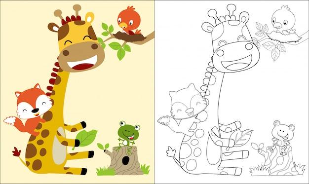 Libro da colorare con una bella giraffa cartoon e amici