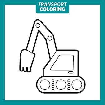 Colorare simpatici personaggi dei cartoni animati di veicoli di trasporto con escavatore