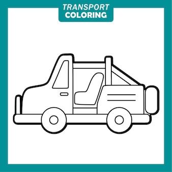 Colorare simpatici personaggi dei cartoni animati del veicolo di trasporto con la jeep
