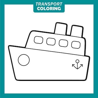 Colorare simpatici personaggi dei cartoni animati del veicolo di trasporto con la nave