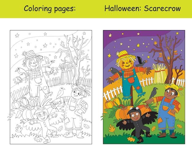 Colorare halloween bambini e spaventapasseri