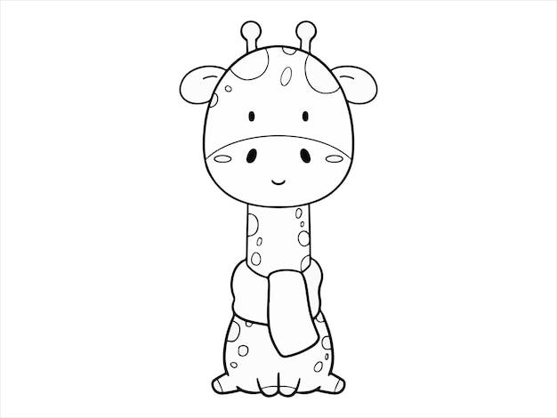 Disegnare a mano da colorare simpatica giraffa con sciarpa