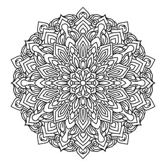 Mandala da colorare in sfondo stile bianco e nero