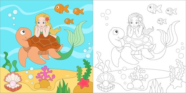 Colorare sirena e tartaruga marina Vettore Premium