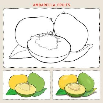 Pagina da colorare di frutti di ambarella con due campioni da colorare. colorazione piatta e colorazione delle ombre