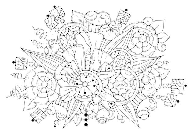 Pagina da colorare. fiori astratti in bianco e nero per la colorazione. illustrazione.