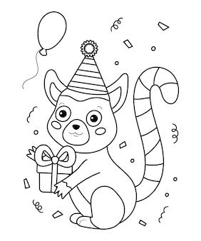 Pagina da colorare per libro. lemure simpatico cartone animato con regalo e palloncino. illustrazione di buon compleanno.