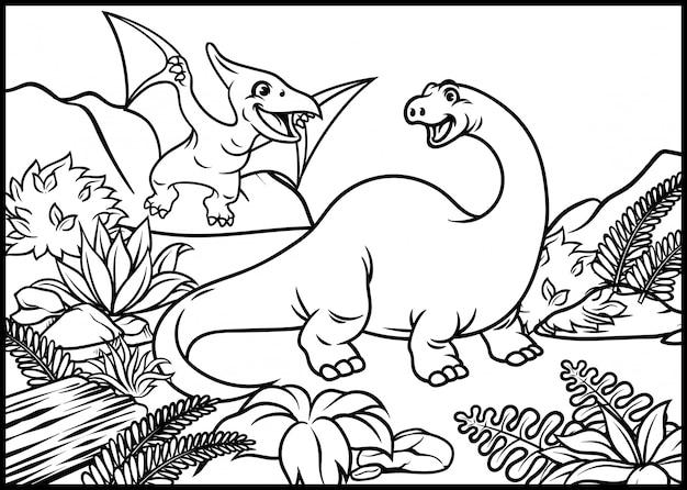 Pagina da colorare di brontosauro e pterodattilo Vettore Premium