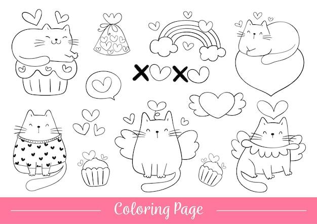 Pagina da colorare gatto per san valentino.