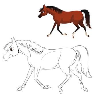 Pagina da colorare per bambini con cavallo. con un suggerimento