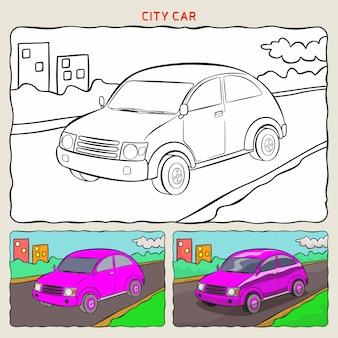 Pagina da colorare di city car in background con due campioni da colorare Vettore Premium