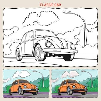 Pagina da colorare di auto d'epoca con due campioni da colorare