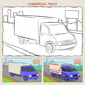 Pagina da colorare di camion commerciale in background con due campioni da colorare